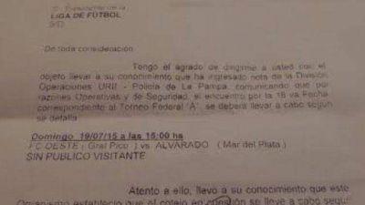 Los hinchas de Alvarado no podrán viajar a La Pampa