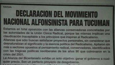Radicales tucumanos contra el acuerdo Cano - Amaya