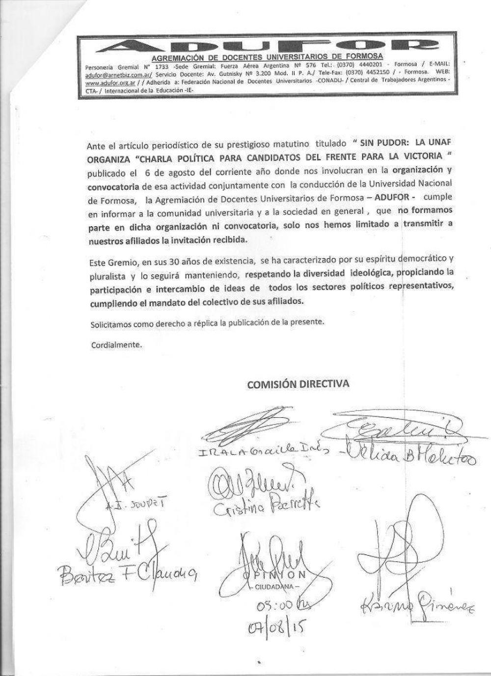 ADUFOR acusó recibo de críticas a acto político del FpV organizado por la UNaF