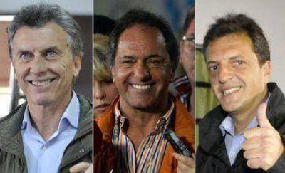 Scioli, Macri y Massa, a la caza del voto
