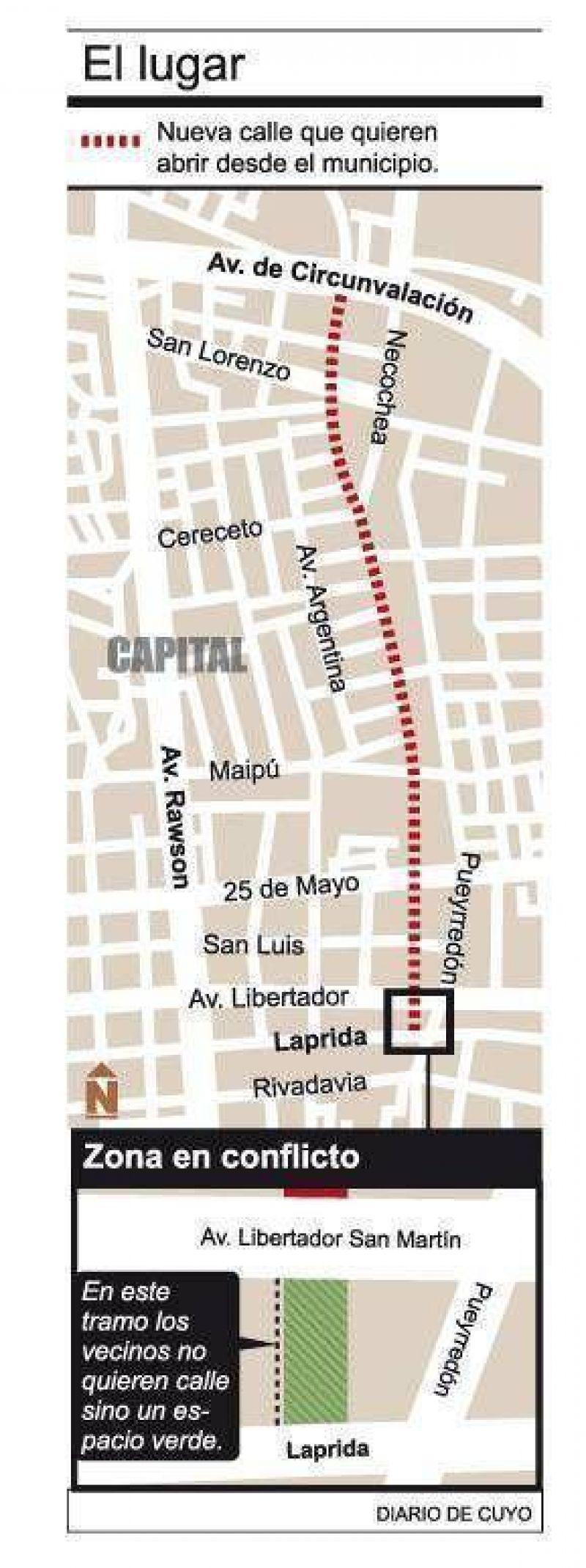 El municipio quiere hacer una calle, pero los vecinos piden una plazoleta