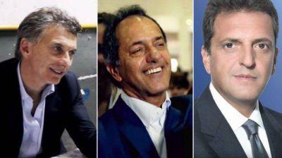 Mauricio Macri, Sergio Massa y Daniel Scioli, cara a cara con empresarios
