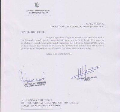 El rector Morea ordenó suspender el debate que se iba a realizar en el Colegio Illia
