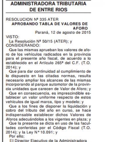 Hay nuevos valores de aforo para el Impuesto Automotor en Entre Ríos