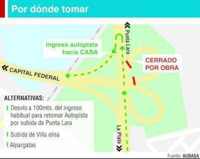 Por obras cierran el rulo de acceso a la Autopista La Plata