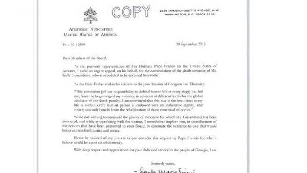 La carta de Francisco pidiendo clemencia