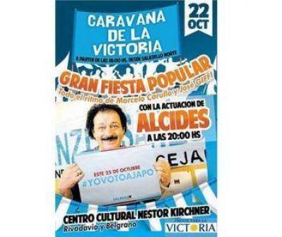 Cierre de campaña con caravana popular y el cantante Alcides
