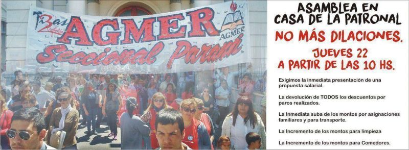 Agmer Paran� convoca a una asamblea frente a Casa de Gobierno para este jueves