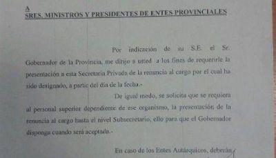 Primicia: El gobernador pidió la renuncia a todos sus ministros