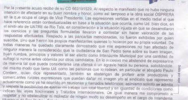 En su rectificación, Víctor Hugo Ríos pidió que lo dejen trabajar con el nuevo sindicato