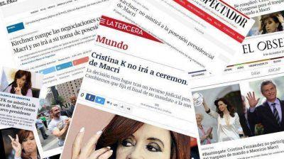 Cristina Kirchner no irá al acto de traspaso: las repercusiones en el mundo