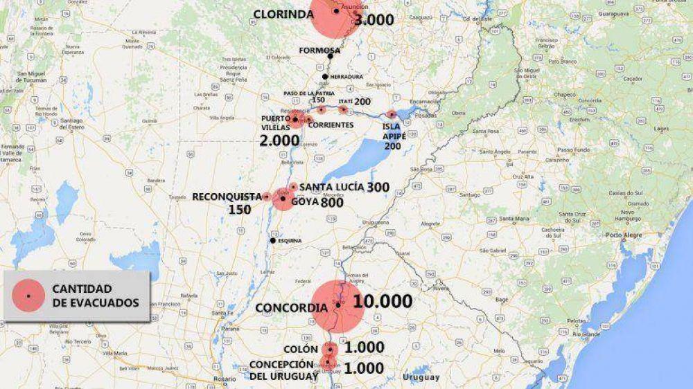 Inundaciones en el Litoral: las ciudades con más evacuados