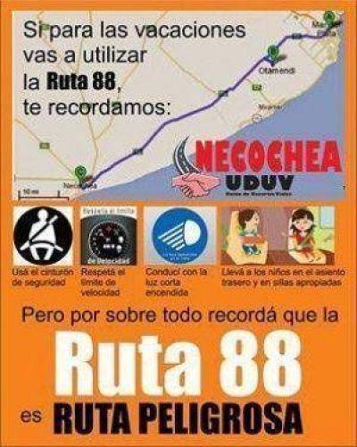 Ruta 88: un afiche de la UDUV con consejos
