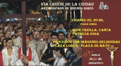 Invitan a participar del Viacrucis de la Ciudad en la Avenida de Mayo