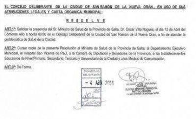 En Orán, el PO pide la presencia del ministro de Salud