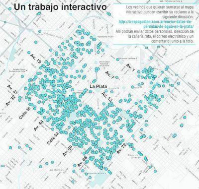 Arman un mapa con más de 720 pérdidas de agua en la Ciudad