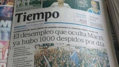 Volvió a salir Tiempo Argentino y le dedicó la tapa a Macri