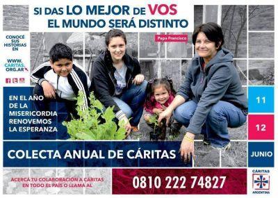 Los días 11 y 12 de junio se hará la colecta anual de Cáritas Argentina