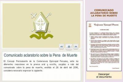 Perú: Los obispos esclarecen el comunicado sobre la pena de muerte