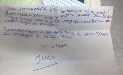Un nene donó 12 pesos que había ahorrado para que Nuevo Amanecer pueda pagar la luz