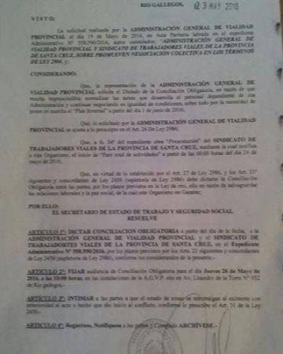 Viales: Secretaría de Trabajo dictó la conciliación obligatoria