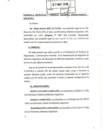 Nardini denunció penalmente a Jesús Cariglino