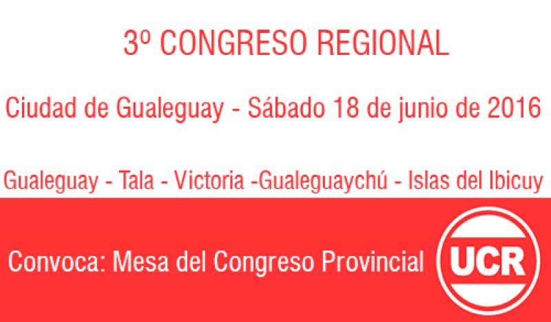La UCR realizará un nuevo Congreso Regional