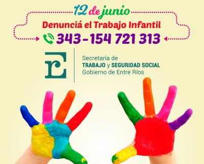 Día mundial: Bordet pidió la cooperación de todos en la lucha contra el trabajo infantil