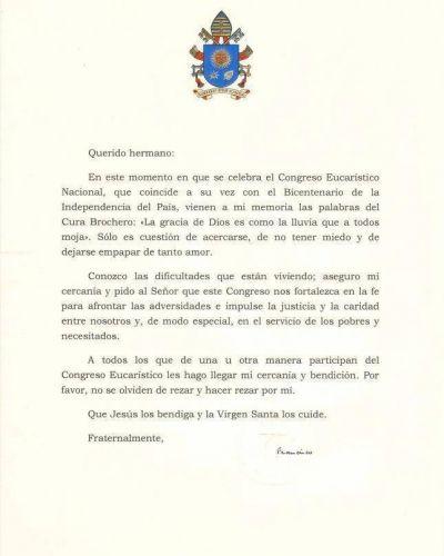 Carta del Papa Francisco con ocasión del Congreso Eucarístico