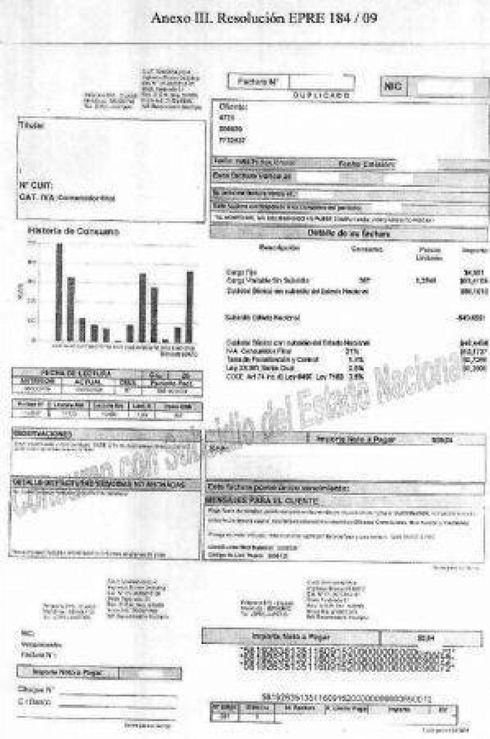 Ya están las nuevas tarifas en facturas que resaltan los subsidios
