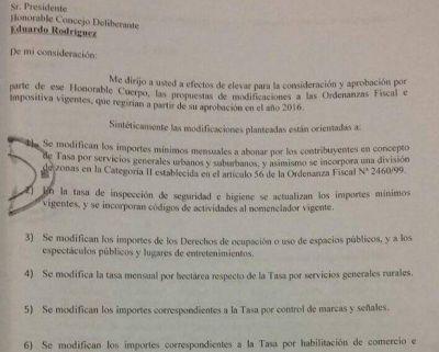 El Municipio elevó el pedido de suba de tasas al HCD
