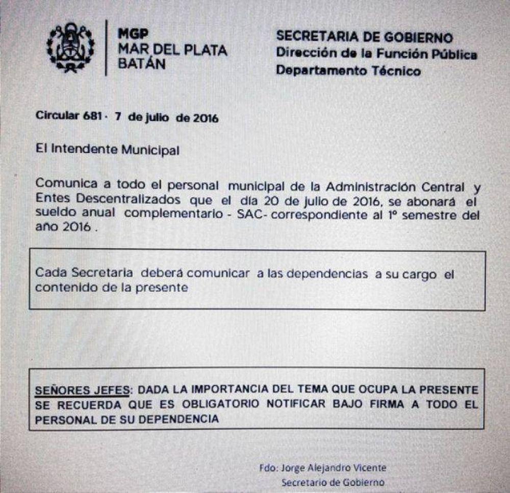 Municipales en pie de guerra: Decretarían un paro general hasta cobrar el aguinaldo