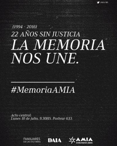 AMIA: A 22 años del atentado, el acto central en memoria de las víctimas se realizará el próximo lunes frente a Pasteur 633