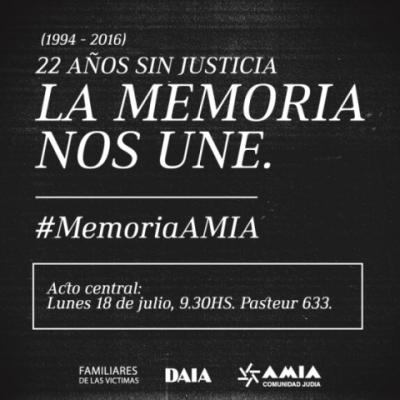 """A 22 años del atentado a la AMIA, """"La memoria nos une"""""""