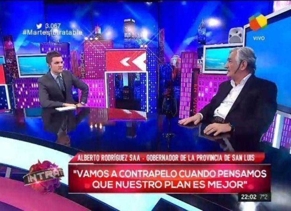 """Alberto Rodríguez Saá: """"Con el gobierno de Macri tengo enormes diferencias"""""""
