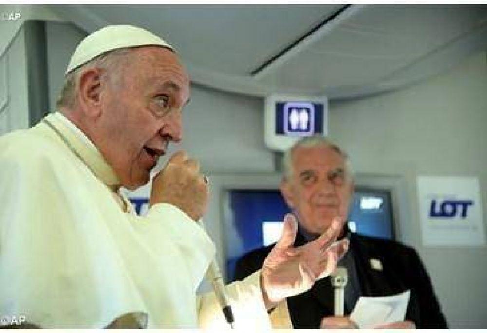 El Papa Francisco en rueda de prensa de regreso de Polonia
