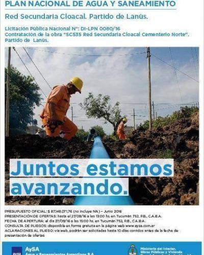 M�s obras se suman al plan cloacal 2016-2019 de Lan�s