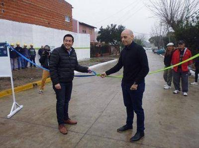 Nardini inauguró obras hidraúlicas y de pavimento en Adolfo Sourdeaux