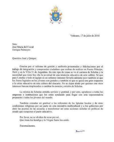 Carta del Papa a los directores de Scholas