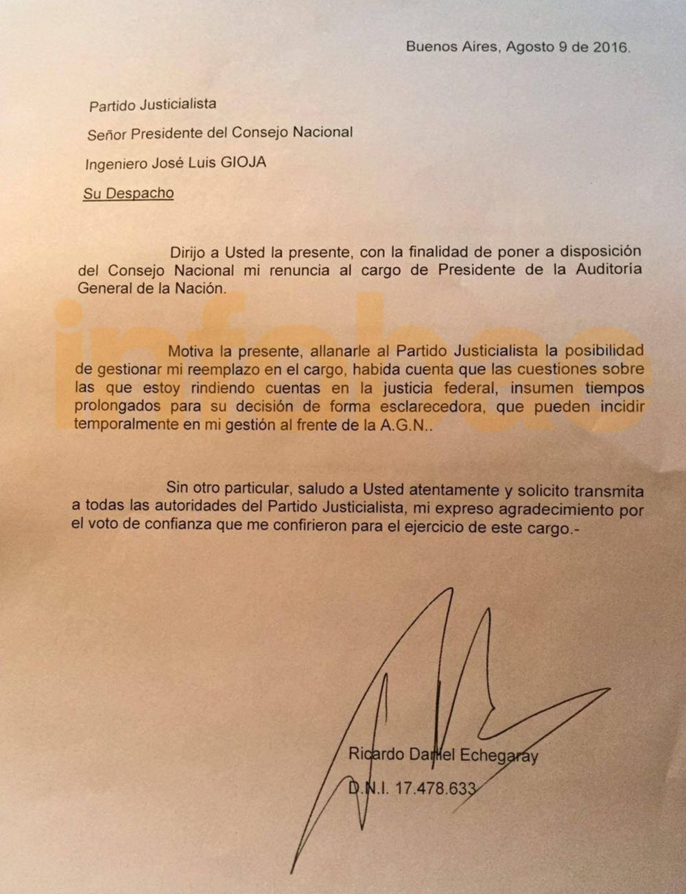 Ricardo Echegaray renunció a la AGN