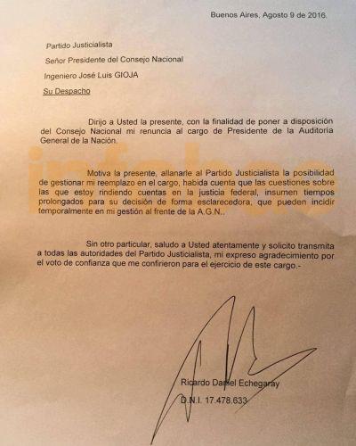 Ricardo Echegaray renunci� a la AGN
