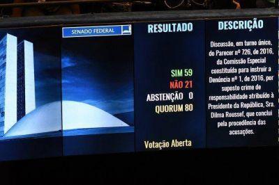 Dilma Rousseff a un paso de ser destituida: el Senado vot� a favor del juicio pol�tico
