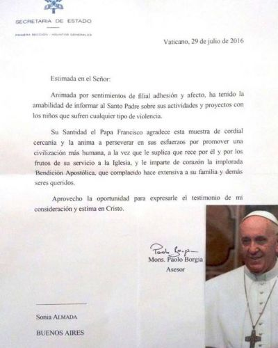 La carta del papa Francisco a una entidad argentina que lucha contra el maltrato infantil