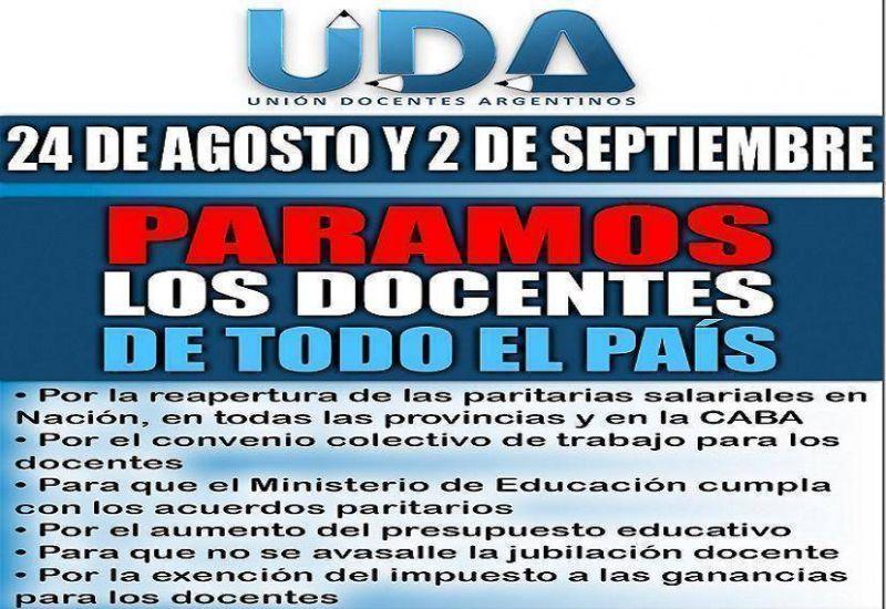 La UDA va al paro el mi�rcoles 24 de agosto, y el 2 de septiembre