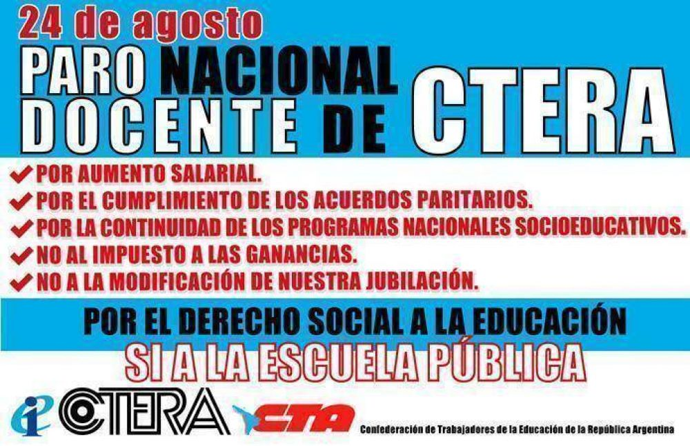 Los gremios docentes universitarios de San Luis se suman al paro convocado por la CTERA y UDA