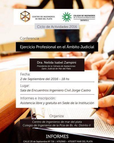 El Colegio de Ingenieros organizará una conferencia sobre el Ejercicio profesional en el ámbito judicial