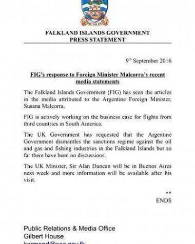 El gobierno de Malvinas afirmó que está trabajando en restablecer los vuelos a las Islas