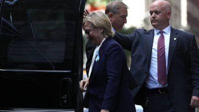 Por una neumonía, Hillary se descompuso en el homenaje