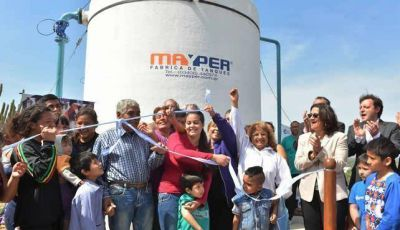 Lucía inauguró otra obra hídrica, esta vez en Banda de Varela