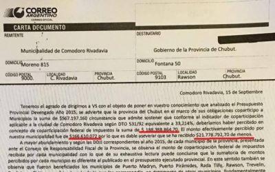 Linares le reclama al Gobierno $ 22 millones por una mala liquidación de la coparticipación